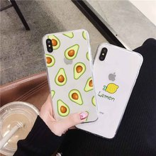 цены LAUGH LIFE Transparent Phone Case For iPhone 7 8 XR XS Max X Case Luxury Fruit Avocado Soft Tpu Cover for iPhone 6 7p 8p XS