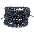 1 Conjunto 4-5 pcs Black Out De madeira de Bambu, contas de pedra de lava pedra crânio e pull-fecho pulseira de couro pulseira da moda dos homens embalar