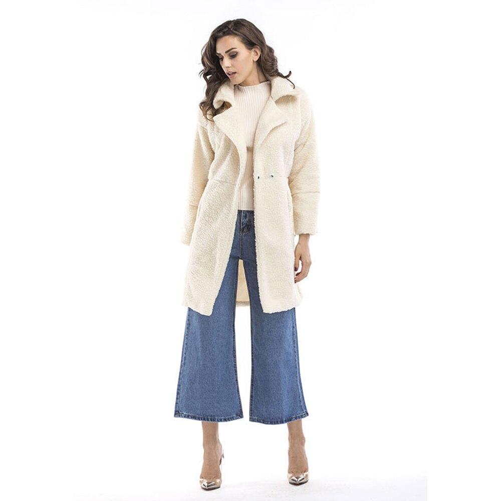 Women Wind Proof Winter Fleece Long Jacket Casual Turn Down Collar Outwear Cardigan Coats Female Elegant Clothing Long Overcoat