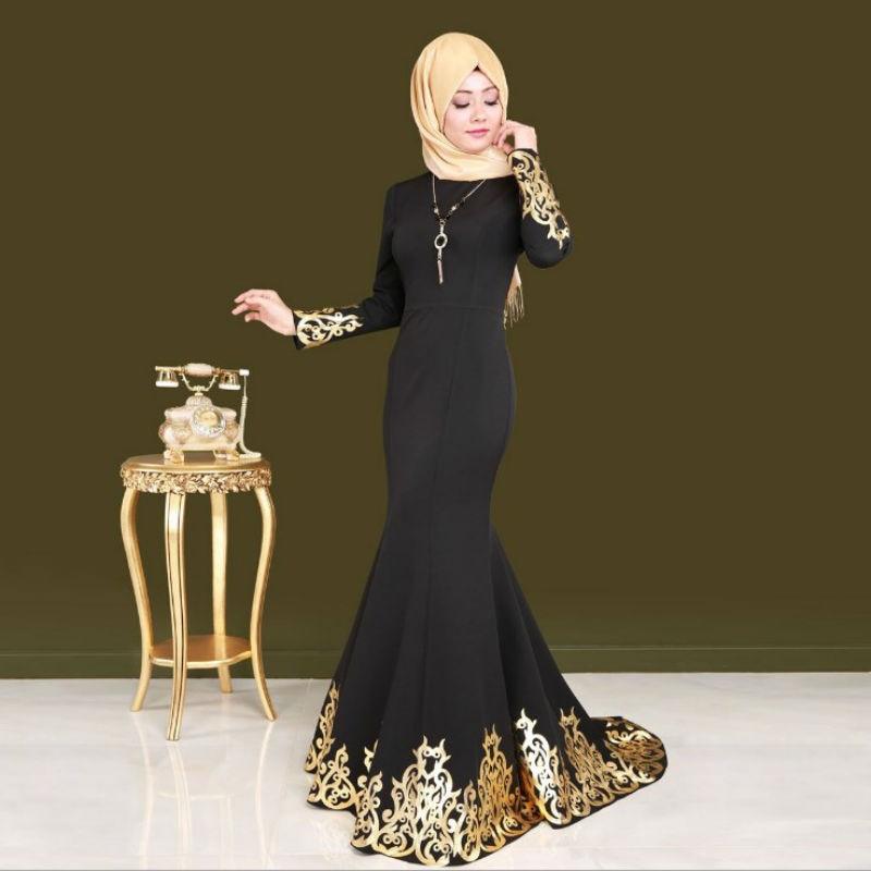 New saudi turkish court women muslim dress black hot stamping printing abaya islamic spring autumn dresses