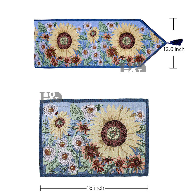 Aliexpress.com : Buy 2PCS /LOT Sunflower Style Tapestry Wedding Bed Table  Runner Table Cloth Dining Mat Coasters Slip Resistant Placemat Table Decor  From ...