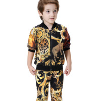 2016 New Leopard Printed Toddler Boys Clothing Set 2016 Autumn Winter Sport Suit Sale Baby Kids