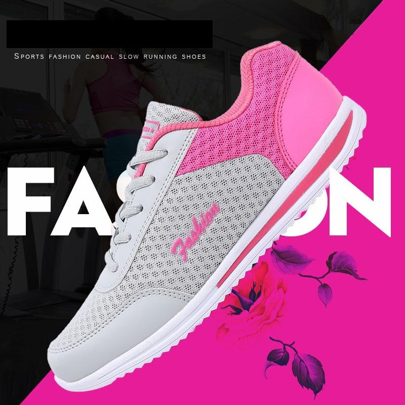 Venta caliente 2018 nueva Red de Mujeres de suave zapatos casuales zapatos de malla transpirable Zapatillas Zapatos salvajes zapatos casuales mujer verano Zapato de las mujeres