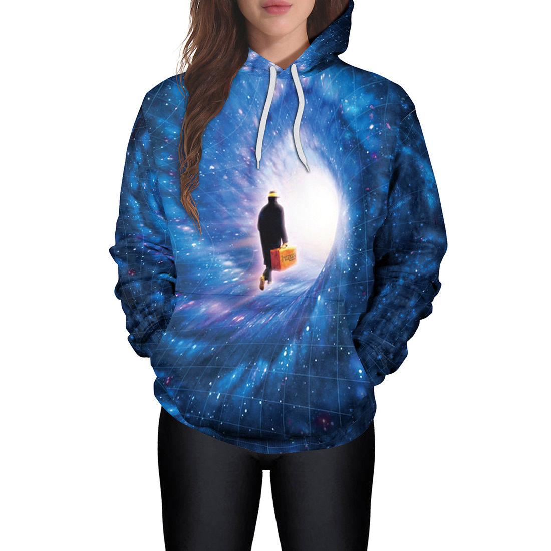 Space Galaxy Hoodies Men/Women 3d Sweatshirts With Hat Print Blue character Autumn Winter Thin Hooded Hoody Tops