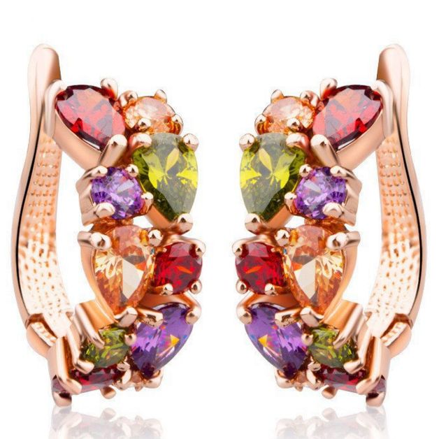 Brand Mona Lisa Multicolour AAA Cubic Zirconia Fashion Earrings for Women Real Rose / Champagne Gold Pated Girl Gift