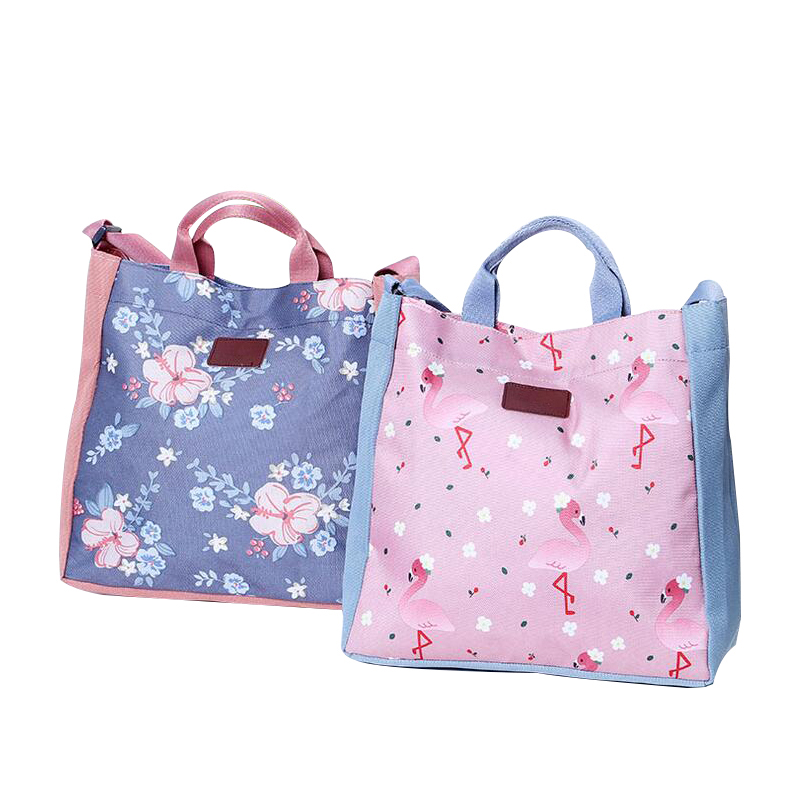 Cartoon Printing Flower Shoulder Bag Large Capacity Women Casual Protable Folding Hand Totes Storage Accessories Products