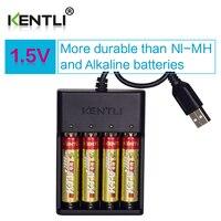 Tüketici Elektroniği'ten Yedek Piller'de 4 adet KENTLI 1.5 V AA PK5 2800mWh şarj edilebilir lityum li ion piller pil + 4 yuva lityum hızlı AA şarj cihazı