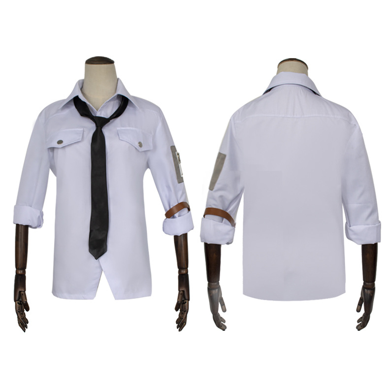PUBG Cosplay Costume Playerunknown's Battlegrounds Level 3 White Top Shirt Tie Arm Band Men's Halloween Carnival Party Costume