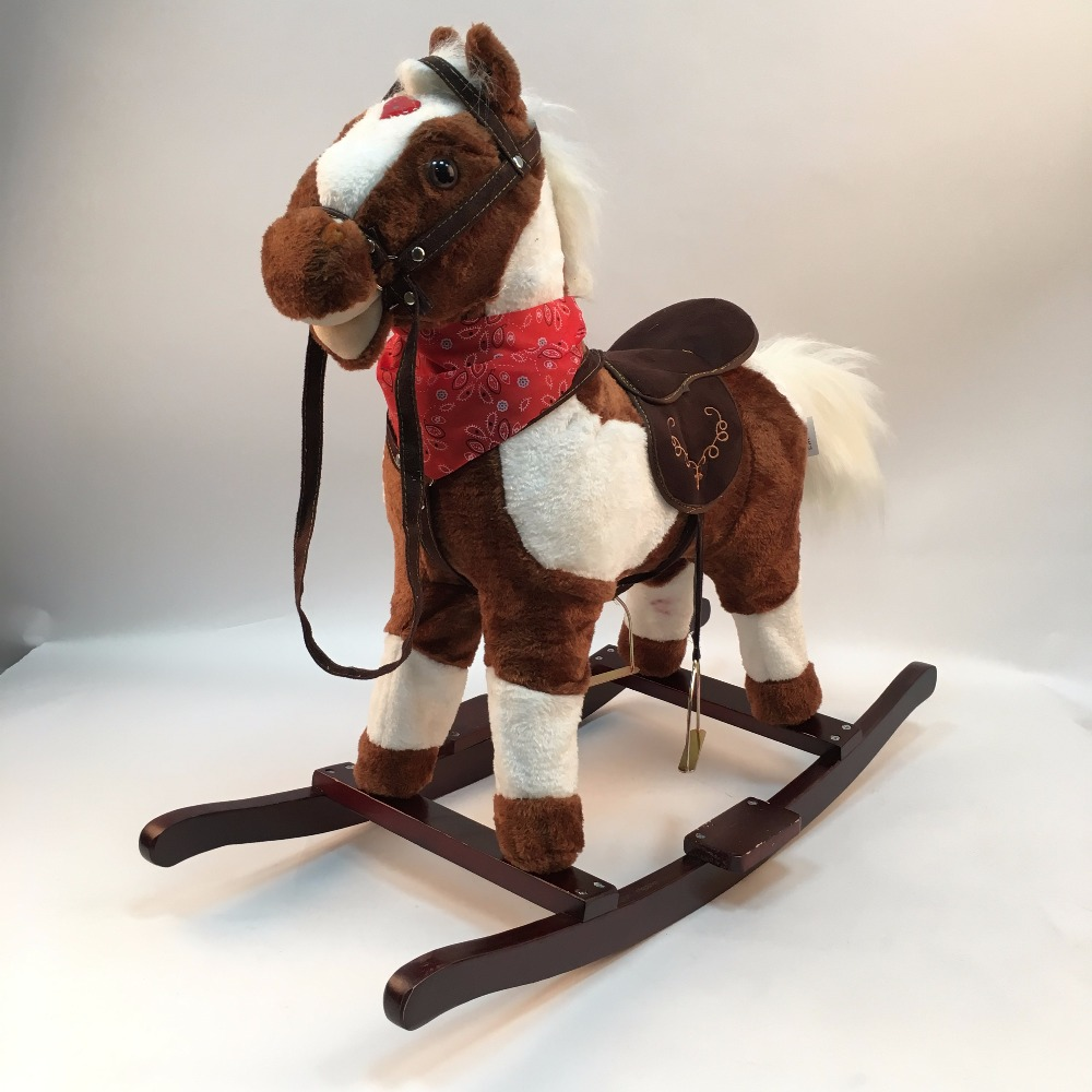 New Wooden Music Rocking Horses Foal Indoor And Outdoor Amusement Walking Horse Toys Ride On Horse Pony Toy For Baby/Kids children rocking horse gift baby eating chair music ride on toy cute duck birthday walker amphibious toys 2 kinds of functions