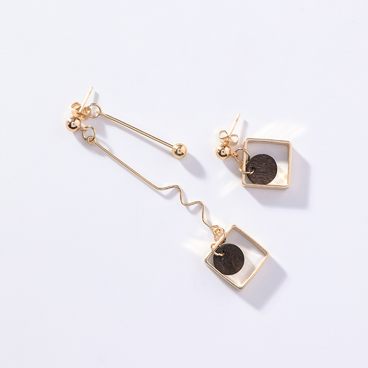 18 Asymmetry AB Style Wave Chain Geometric Earrings Alloy Square Wooden Wafer Pendientes Mujer Vintage Drop Earrings 7
