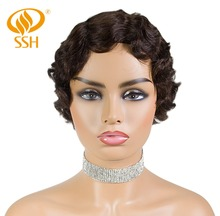купить SSH Non-Remy Human Hair Short Pixie Cut Wig 1920's Flapper Hairstyles for Women Short Finger Wave Retro Style Wig Cosplay дешево