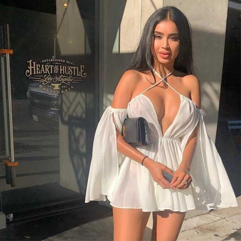 2020 Chiffon Casual Summer Dress Women Strapless Off Shoulder Sexy Dress Deep V Neck Slash Neck Club Elegant Mini Dress GRNSHTS