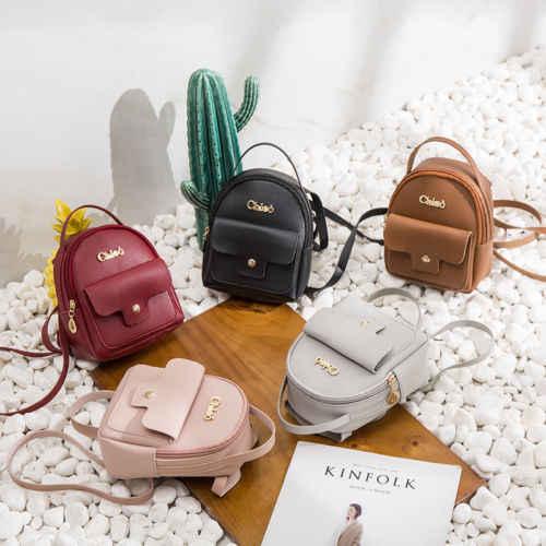 Mulheres Meninas Mini Faux Leather Backpack Mochila Bolsa Escola Bolsa de Viagem Carta Muito Sólida de Mini Senhoras Mochila Bagpack Sacos Para As Mulheres