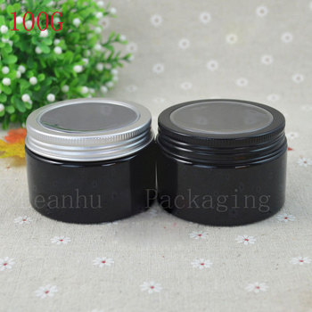 Empty Black Cream Jar With Black Aluminium Cap ,Refillable Cream Jars Cosmetic Packaging, Facial Mask,Solid Perfume Makeup Cans