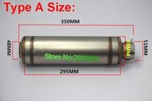 Hand Made ID:51mm(2″) L350mm Universal Motorcycle Exhaust Pipe Muffler Demper Imitation Titanium Motorbike Exhaust Muffler