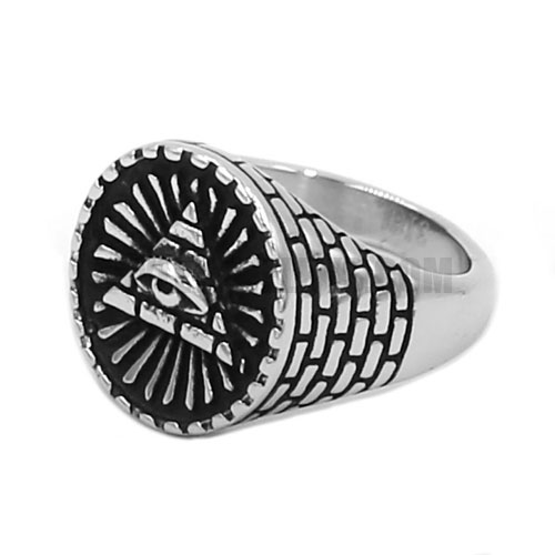 Illuminati Pyramid Eye Symbol Ring Stainless Steel Jewelry Masonic Biker Ring SWR0708_3