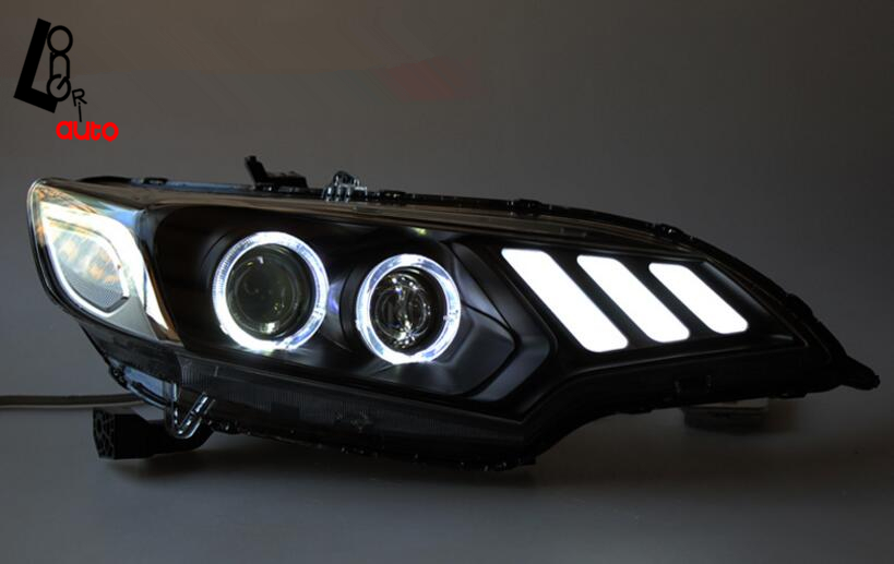car styling car styling LED Headlight DRL Daytime Running Light Bi-Xenon HID Accessories For Fit Jazz  2015-2016 Head Lamp 4x6 inch rectangle auto light led headlight replacement hid xenon h4651 h4652 h4656 h4666 h6545 h4 front led headlight with drl