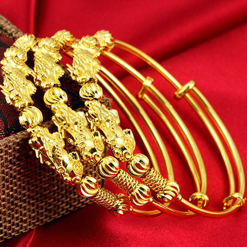2 Pieces Wholesale Women Adjustable Bangle Yellow Gold Filled Classic Bracelet Gift Diameter 6cm