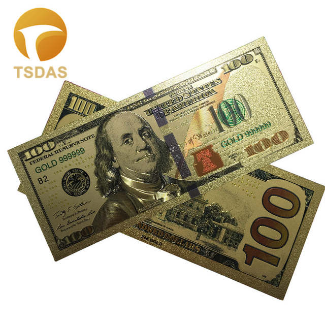 Placeholder 10pcs Lot Colorful Usa Banknotes 100 Dollar Bills Bank Note In 24k Gold Plated Fake