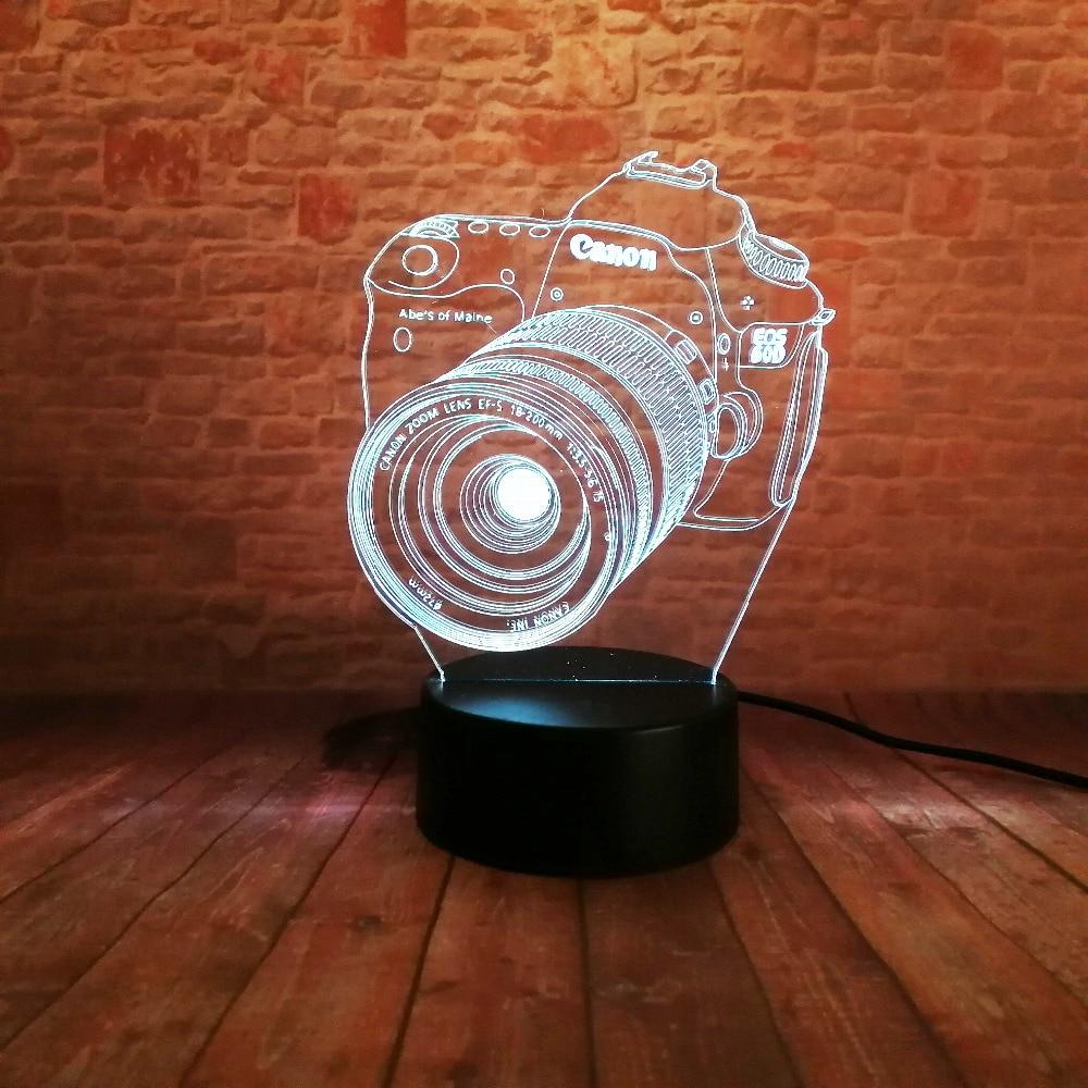 Ny 3D-kamera Touch Remote LED 7 Färgbyte Nattljus Illusion Barnbarn - Nattlampor - Foto 4