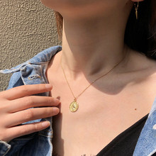 Golden, Silver Color Round Coin Pendant Chains and Necklaces For Women Simple Portrait Charm Chains and Necklaces Dainty(China)
