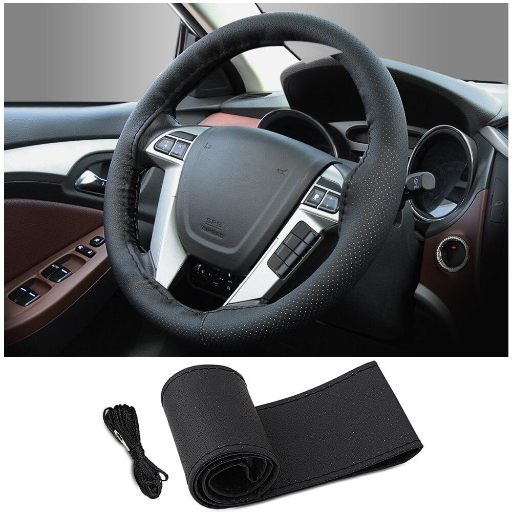 Diy Lederen Auto Stuurhoes Voor Reno Stofdoek Peugeot 206 Mitsubisi Vaas 2110 Vw Tiguan Peugeot 407 Fiat 500 Accessorie Aromatische Smaak