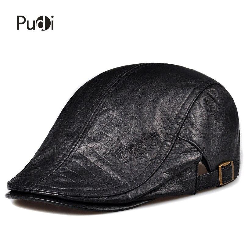 Detalle Comentarios Preguntas sobre Pudi cuero real de los hombres gorra de  béisbol sombrero 2017 moda nuevo estilo de cuero suave cinturón boina  gorras ... 4ef75dd366a
