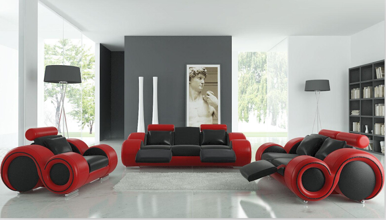 Living room sofa furniture with recliner ,modern leather sofa black ...