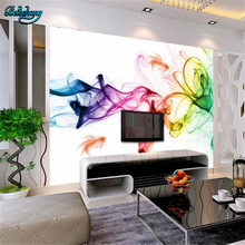 beibehang Fashion abstract transparent flower color smoke goldfish backdrop large custom nonwoven wallpaper fresco