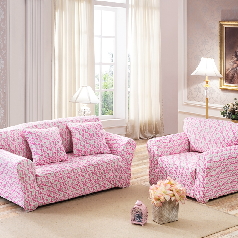 SunnyRain Pink Heart Elastic Sofa Cover Sofa Slipcover For Sectional ...