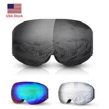 купить Brand Ski Goggles UV400 Anti-fog Double Layers Ski Mask Glasses Detachable Skiing Men Women Snow Snowboard Skating Goggles по цене 1391.85 рублей
