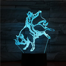 Unique Gift Bullfighter Lamp 3d Spanish Style Bullfighting Led Night Light Color Changing Home Office Room Decorative