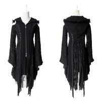 Панк декадент камвольной куртка с капюшоном стимпанк готический Flare рукавом отверстия шить дамы черный вязаный кардиган свитеры для женщи