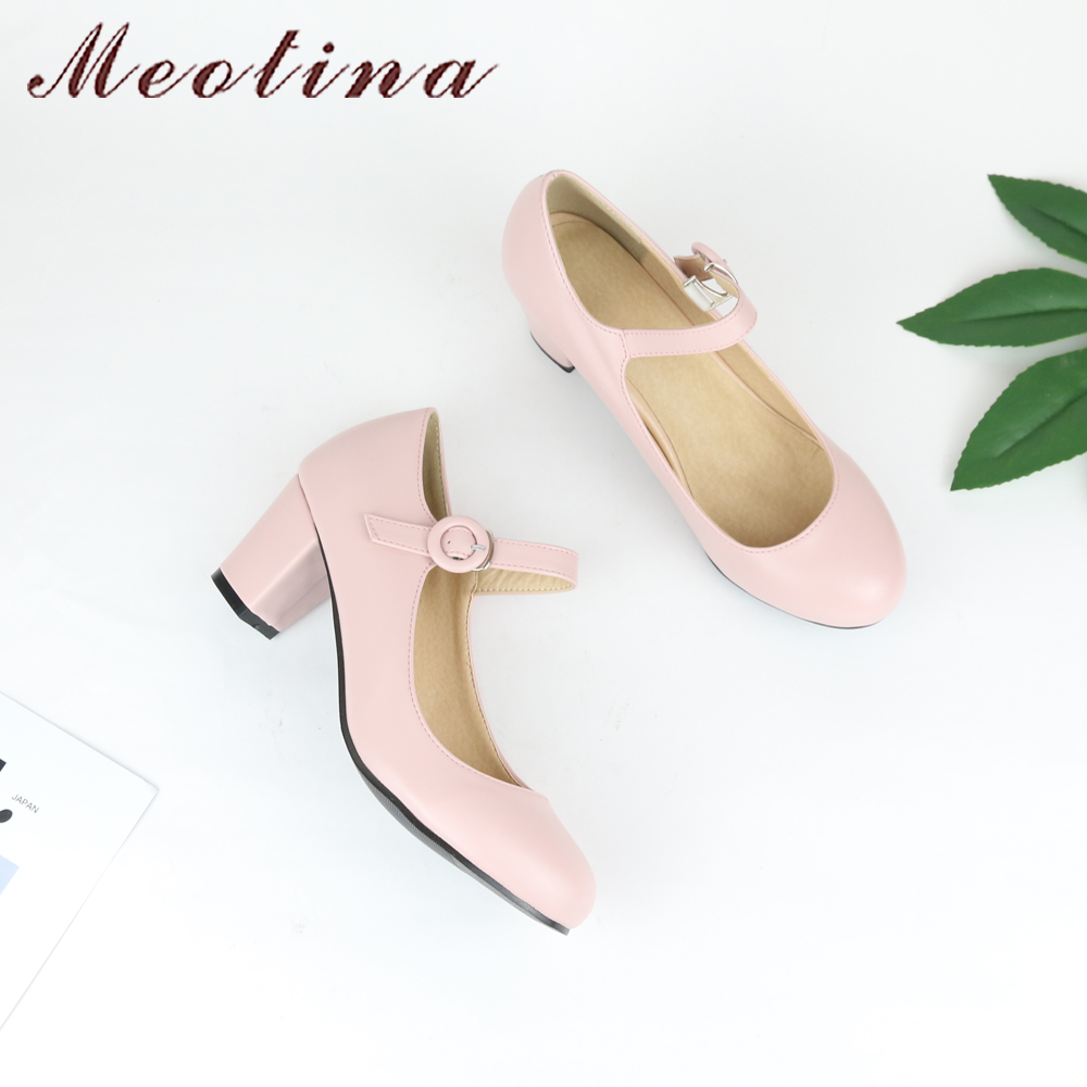 Meotina Women Shoes Mary Jane Ladies High Heels White Wedding Shoes - Women's Shoes