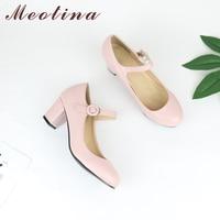 Promo Meotina zapatos de mujer Mary Jane zapatos de tacón alto blancos de boda zapatos de tacón grueso de primavera Zapatos negro rosa de talla grande 43 9 10