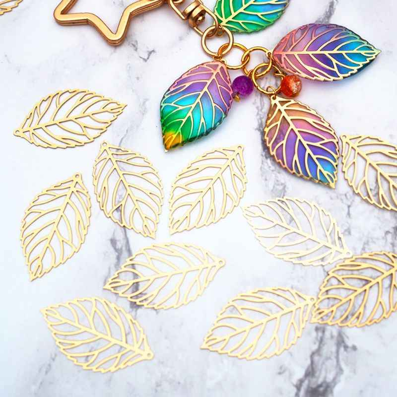 100 pcs/Pack Openwork Leaf Metal Flower Frame Pendant Charm DIY UV Resin Necklace Jewelry Making