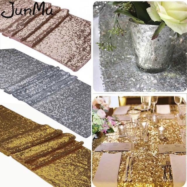 Sequin Table Runner For Wedding Decoration Banquet Party Decoration Mariage Table Runners Tablecloth Jute Gold Silver Rose Gold