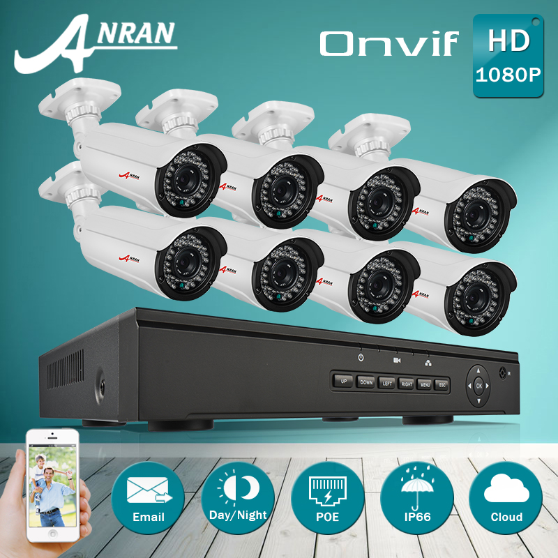 Plug And Play 1080P HD H.264 25fps 36IR CCTV POE Camera Kit Email Alarm Onvif 8CH NVR Security Surveillance POE System 3TB HDD