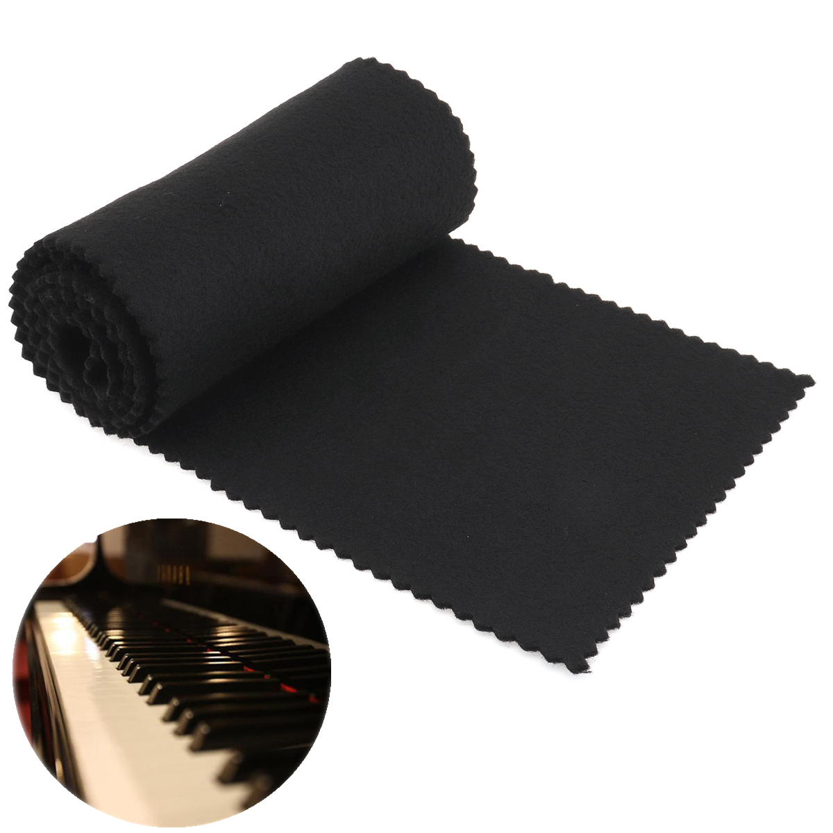 119 X 14cm Black Soft Piano Key Cover Keyboard Dust Covers