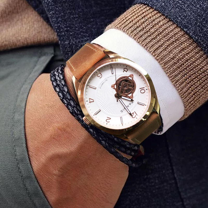PARNIS 42MM Case Mechanical Automatic Self Winding Men Watches Black Leather Strap Sapphire Crystal Men's Watch Top Brand Luxury