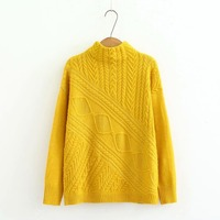 Plus size turtleneck women Knitted pullover 2018 dark red & yellow & Beige autumn winter ladies sweater wool female