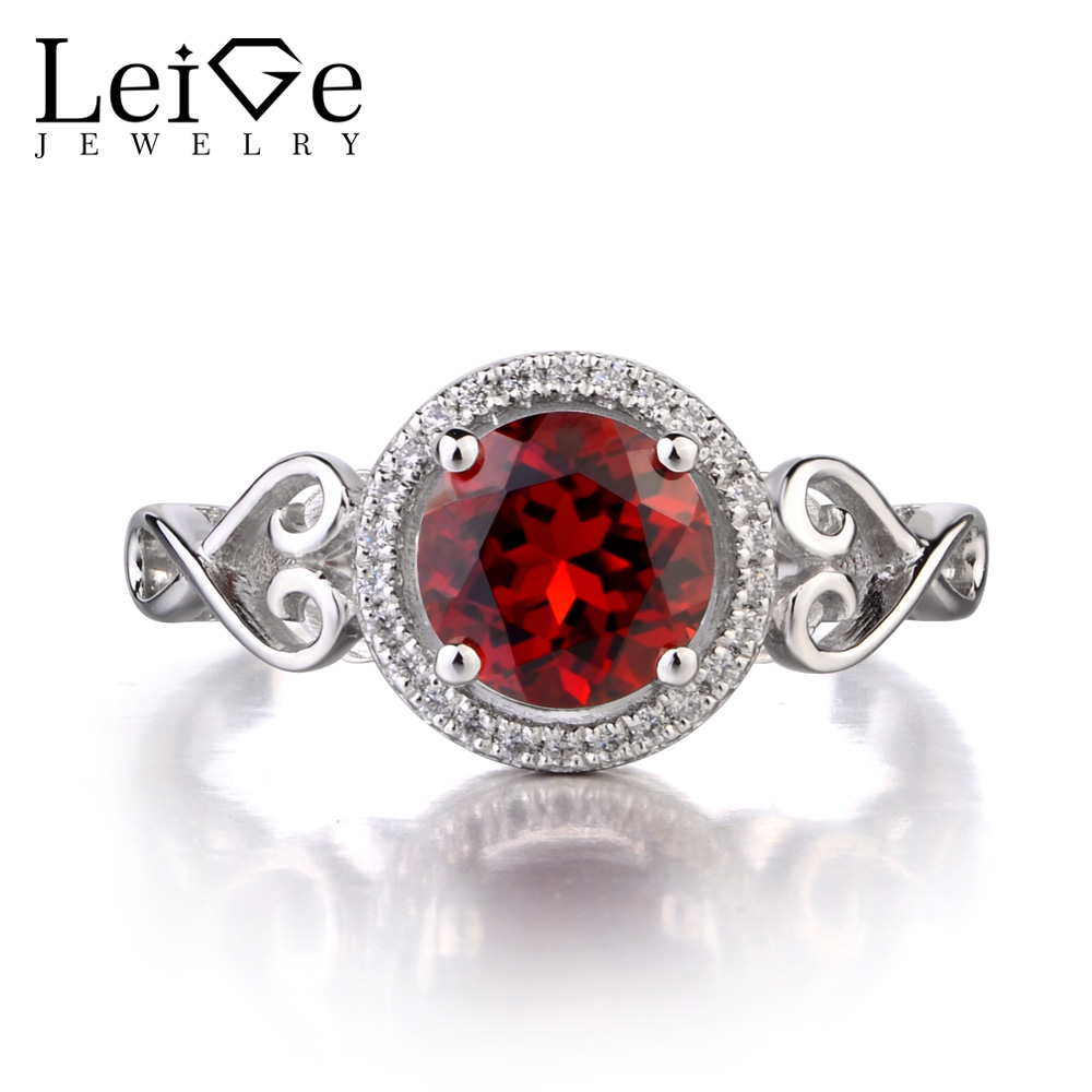 Leige Jewelry Natural Garnet 925 Sterling Silver Ring Round Cut Red Fine Gemstone January Birthstone Promise Rings for Women