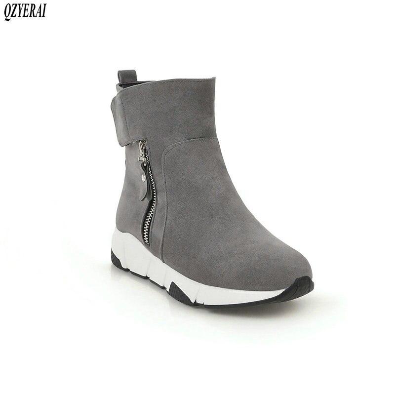 QZYERAI New arrival winter warm snow boots women boots flat comfortable fur snow boots fashionable casual women shoes size 34-43 цены