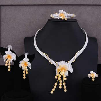 GODKI Luxury Flower 4PCS Nigeria Choker Lariat Necklace Set For Women Wedding Zircon Indian African Statement Bridal Jewelry Set - DISCOUNT ITEM  32% OFF All Category