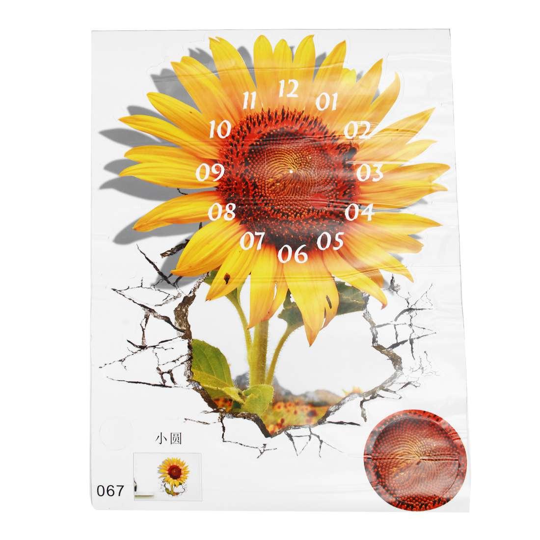 DIY 3D Art Wall Sticker Sunflower Clock Sticker Office Home Wall Decor Gift 18x15 stylish sunflower pattern removable 3d wall sticker for home decor