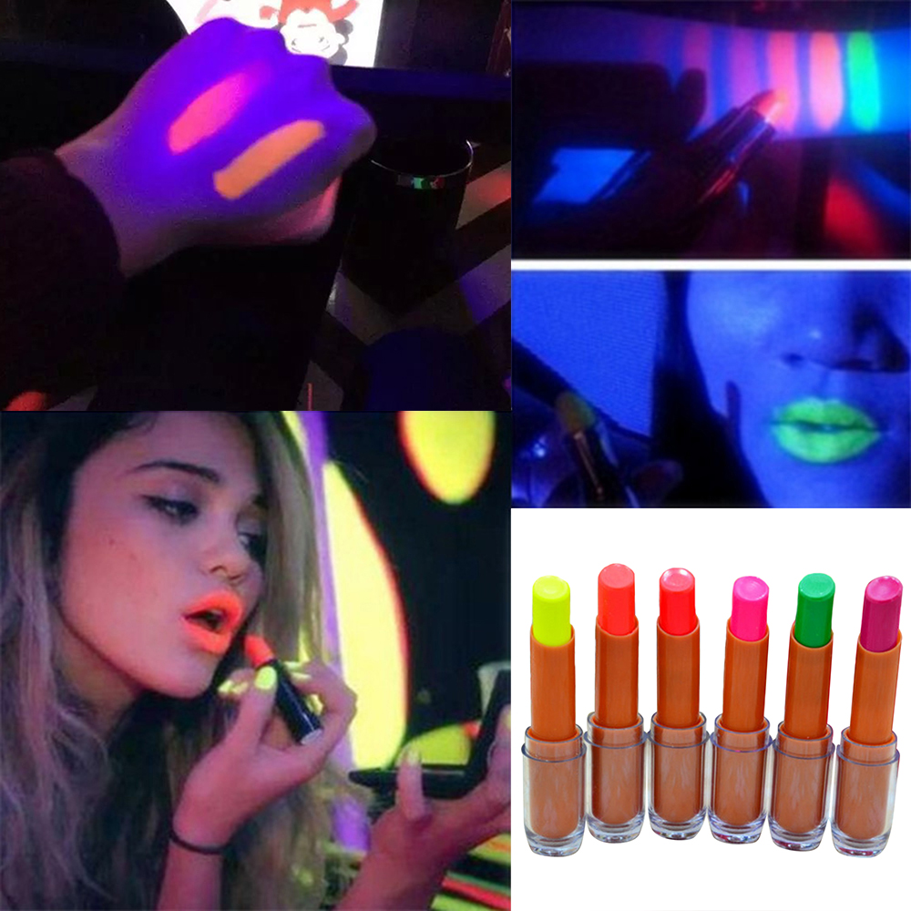 6 Colors Colorful Luminous Fluorescence Fluorescent Lipstick Waterproof Moisturizing Lasting Non-marking Lipstick Party TSLM2 image