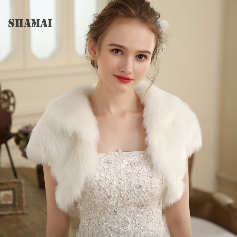 SHAMAI Faux Fur Winter Short Sleeve Bridal Jacket Warm Fur Boleros Bridal Cape Evening Coat  Stole Wedding Warm Jackets
