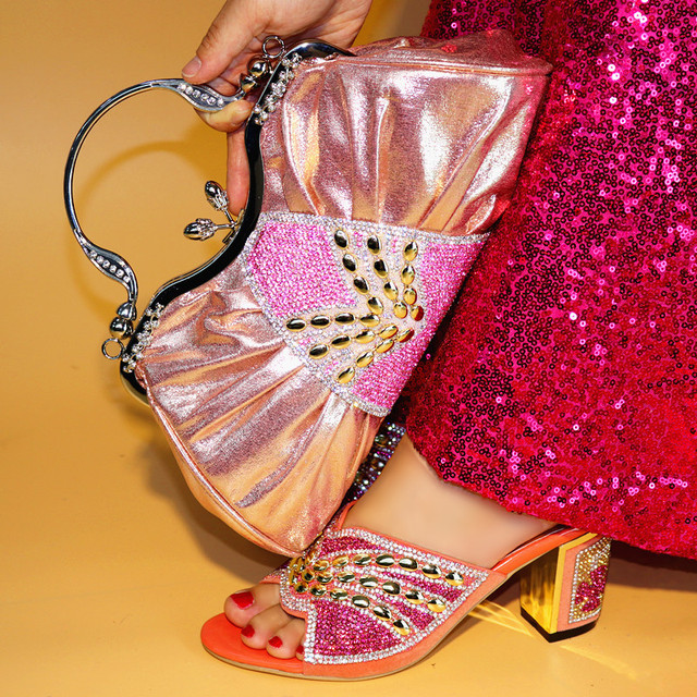 Most Popular Pink Handbag Matching Shoes Set With Rhinestone for African Women Pumps And Bag Set For Dress V9658-3