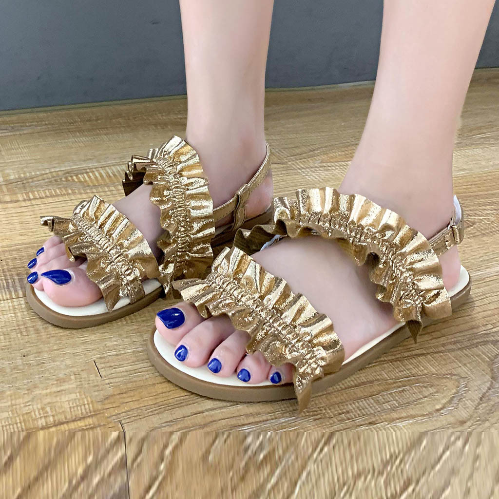SAGACE New Summer Fashion Women's High Quality Leather Roman Flounces Flat Casual Ladies Sandals Shoes Female Beach Shoes Jul3(China)