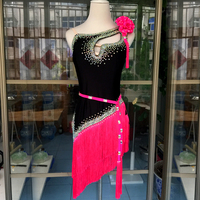 New latin dance costume sexy senior diamond tassel sleeveless latin dance dress for women child latin dance competitio dress